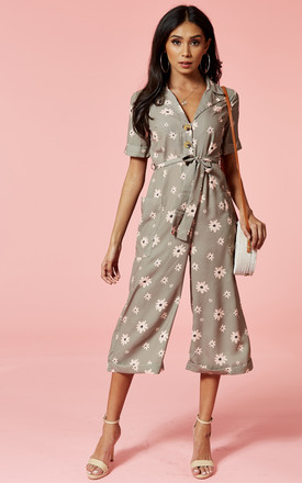 Khaki Floral Button Front Culotte Jumpsuit by Glamorous Product photo