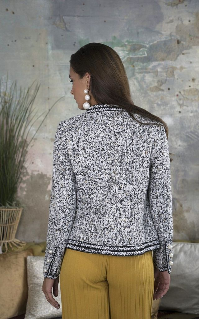 Cheryl Black and White Pearl button Tweed Jacket by Lavand Stories