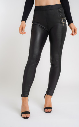 Womens Black PU Quilted Zip Detail Leggings by Aftershock London