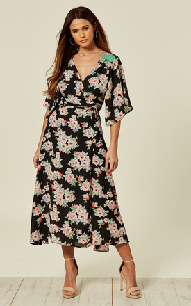 Kimono Long Midi Wrap Dress In Black Floral Print by Liquorish Product photo
