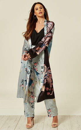 Longline Kimono In Bird Print Co Ord by Liquorish Product photo