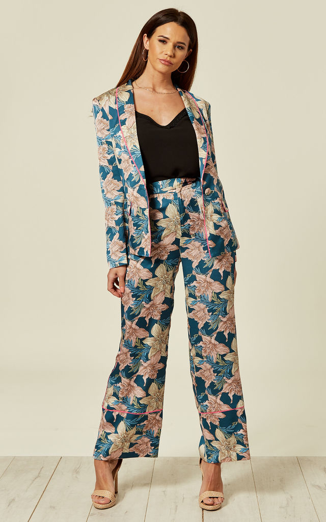 Pyjama floral trousers with neon piping co ord by Liquorish