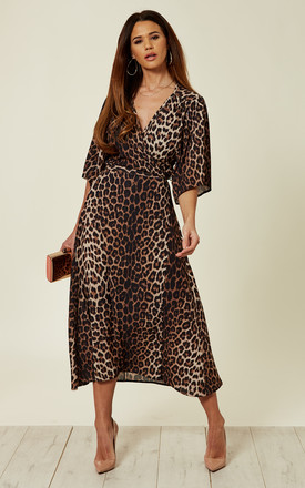 Maxi Wrap Dress In Leopard Print by Liquorish Product photo