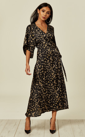 Yellow Floral Black Base Midi Wrap Dress by Liquorish Product photo