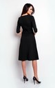 Flared Midi Dress with 3/4 Sleeves in Black by Bergamo