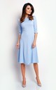 Flared Midi Dress with 3/4 Sleeves in Light Blue by Bergamo