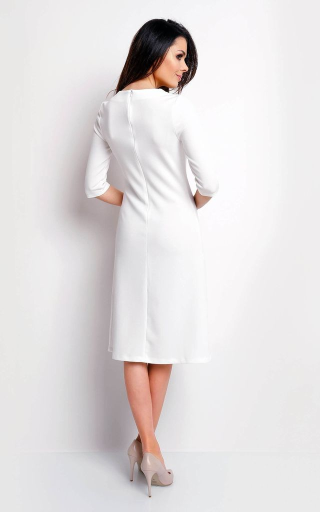 Flared Midi Dress with 3/4 Sleeves in White by Bergamo
