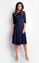 Flared Midi Dress with 3/4 Sleeves in Navy Blue by Bergamo