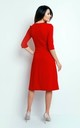 Flared Midi Dress with 3/4 Sleeves in Red by Bergamo