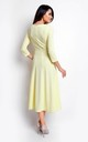 Flared Midi Dress with V Neck in Yellow by Bergamo