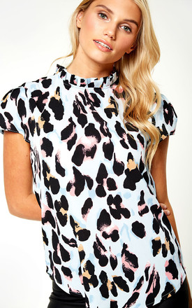 Short Sleeve Leopard Print Top In Blue Animal Print by Marc Angelo Product photo
