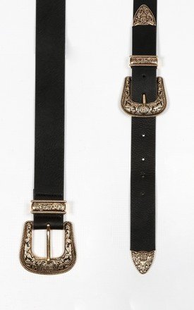 Chunky Gold Double Buckle Belt by Dressed In Lucy
