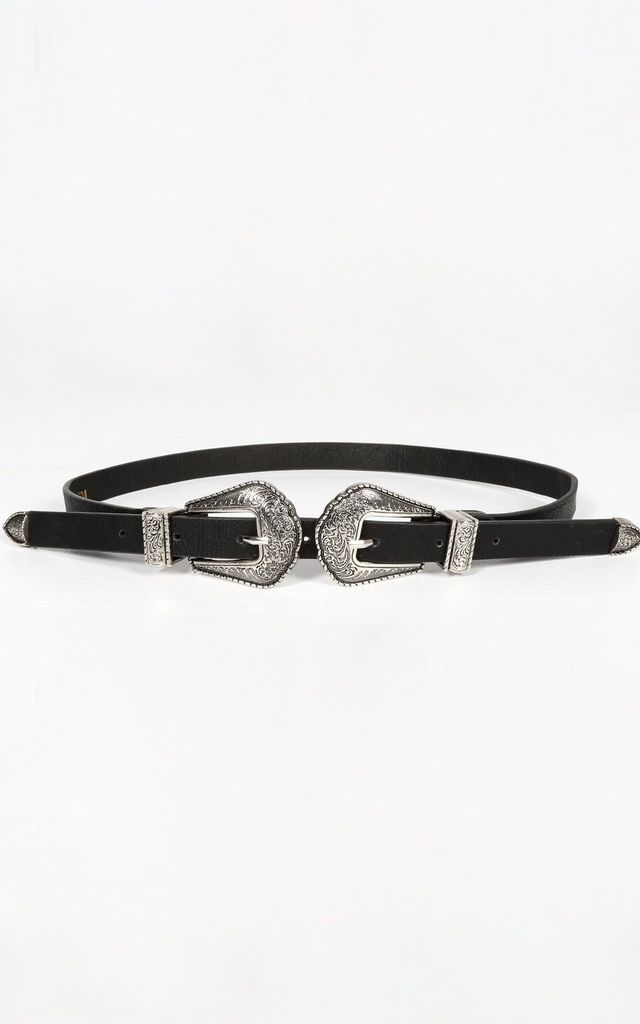Slim Silver Double Buckle Belt by Dressed In Lucy