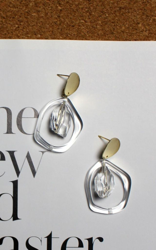 Clear Drop Earrings by HAUS OF DECK