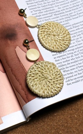 Wooden Knit Circle Earrings by HAUS OF DECK