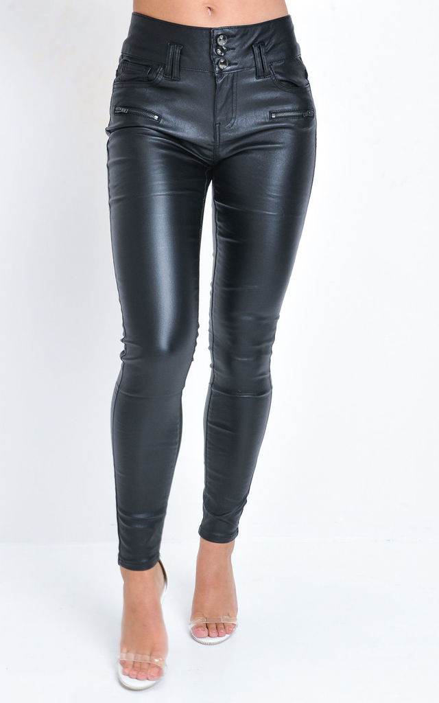 best service really cheap save up to 80% Three Buttons Zip Detail High Waisted Faux Leather Skinny Jeans Black By  LILY LULU FASHION