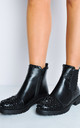 black studded faux leather chelsea ankle boots black by LILY LULU FASHION