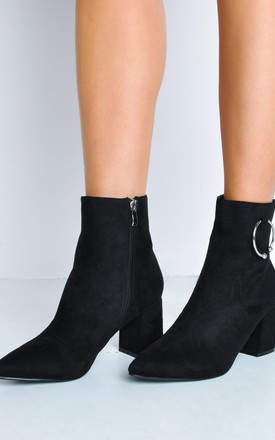 Pointed toe ring block heel ankle boots black by LILY LULU FASHION