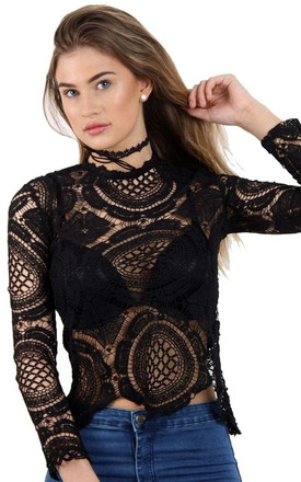 Black Long Sleeve Lace Crochet Top With Back Zip by Urban Mist
