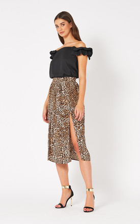 Lois Leopard Double Split Midi Skirt by Vesper247
