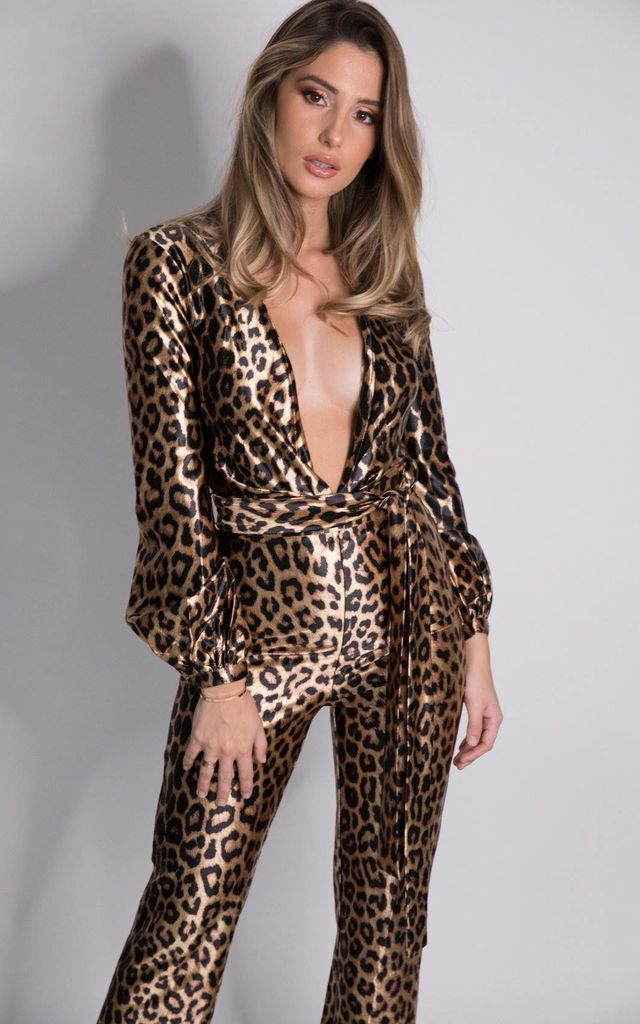 KAT Flared Leopard Print Jumpsuit with V Neck by House of Gigi