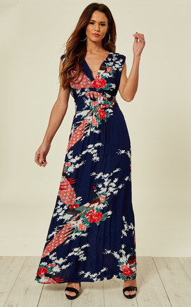 Navy Peacock Floral Summer Maxi Dress by Ruby Rocks Product photo