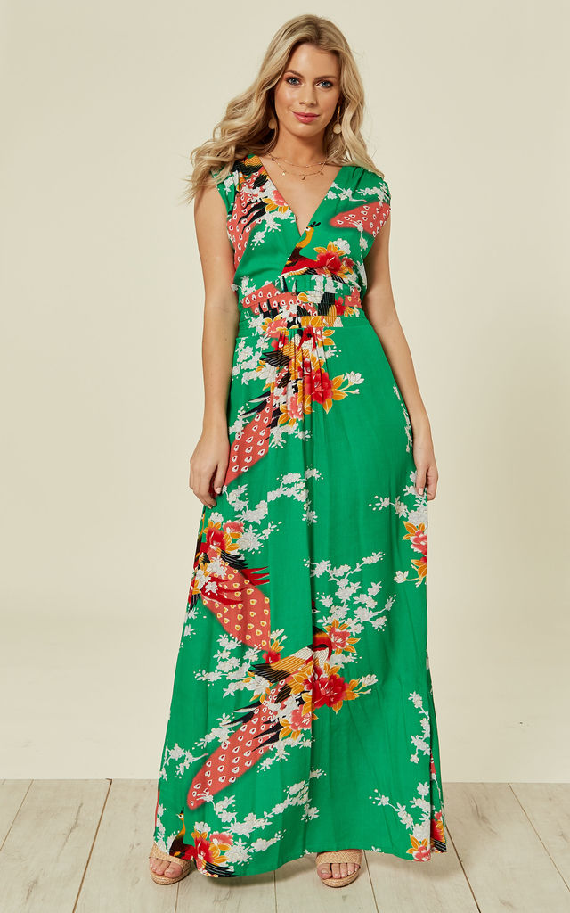 Emerald Green Peacock Floral Summer Maxi Dress by Ruby Rocks