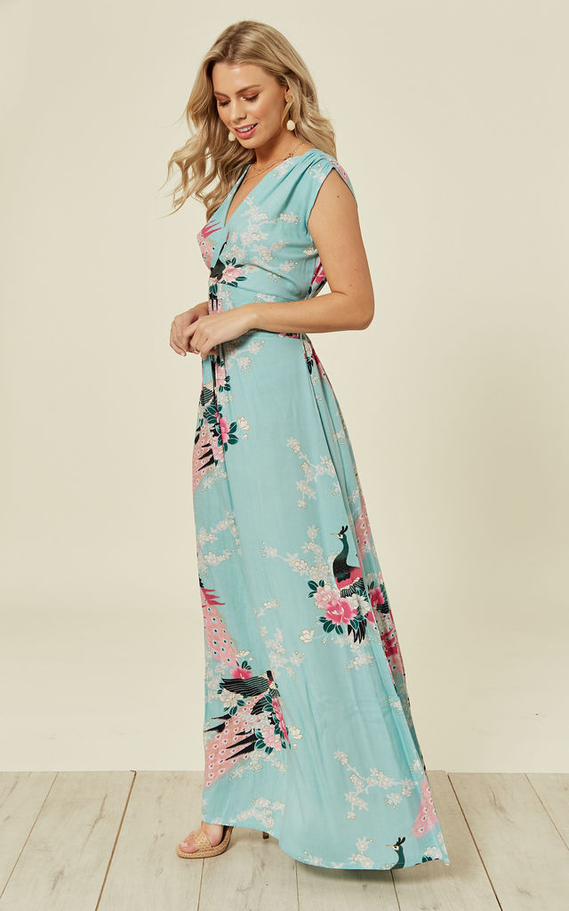 aeaa1c12638 Duckegg Blue Peacock Floral Summer Maxi Dress by Ruby Rocks