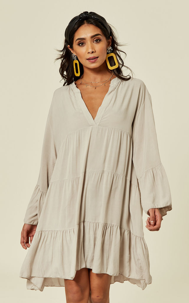 LIBBY Long Sleeve Oversized Tunic In Stone by Blue Vanilla