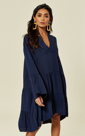 Libby Long Sleeve Plain Oversized Navy Tunic by Blue Vanilla Product photo