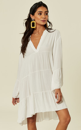 Libby Long Sleeve Plain Oversized White Tunic by Blue Vanilla Product photo