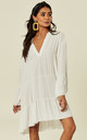 LIBBY Long Sleeve Plain Oversized White Tunic by Blue Vanilla