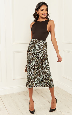 Mint Blue Leopard Midi Skirt by Bella and Blue