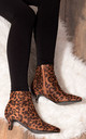 SPYMORE Kitten Heel Ankle Boots Shoes - Leopard Suede Style by SpyLoveBuy