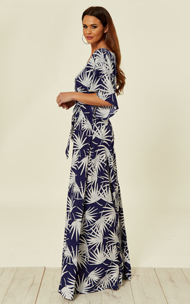 Akiko Kimono Jumpsuit in Blue & White Tropical Holiday Print by Collectif Clothing