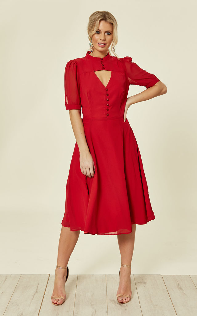 763edd817e7e Shirley Midi Sleeve Key Hole Red Chiffon Occasion Dress by Collectif  Clothing