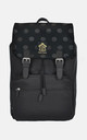 Black on black polka dot laptop backpack by The Left Bank