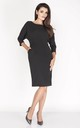 Pencil Dress with 3/4 Sleeves and Pockets in Black by Bergamo