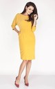 Pencil Dress with 3/4 Sleeves and Pockets in Yellow by Bergamo