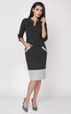 3/4 Sleeve Dress with Pockets in Grey/Black by Bergamo