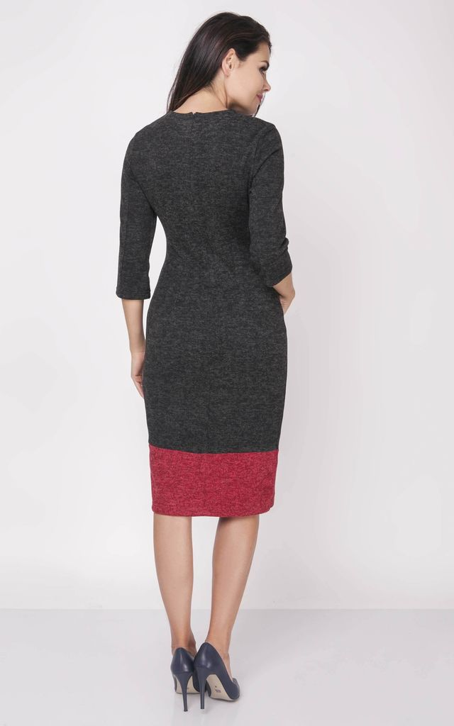 3/4 Sleeve Dress with Pockets in Black/Red by Bergamo