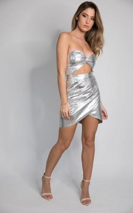 MARS Bandeau Mini Dress with Cut Out Detail in Silver by House of Gigi
