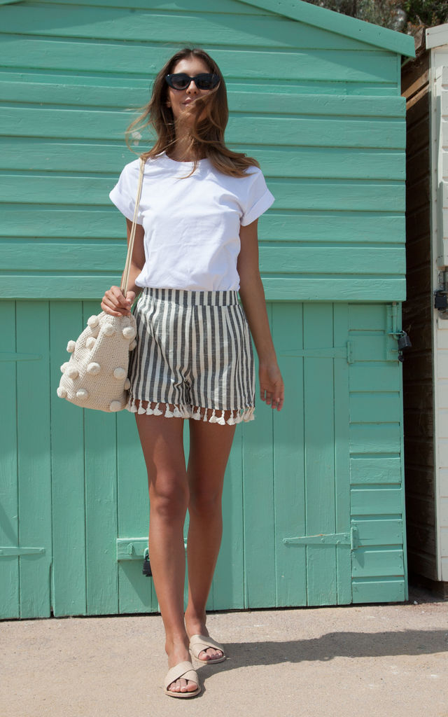 Black Stripe Linen Tassel Shorts by Styled In London