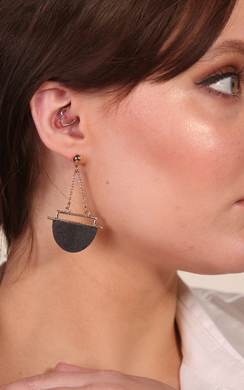 Gold Plated Half Circle Drop Earrings - Black by Xander Kostroma