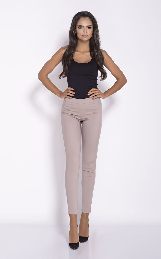 Cropped Cigarette Trousers in Beige by Dursi