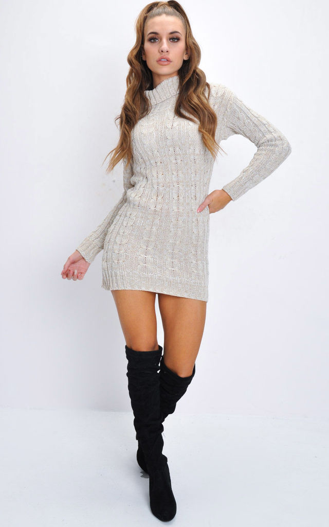 Cable knit turtleneck bodycon jumper dress beige by LILY LULU FASHION