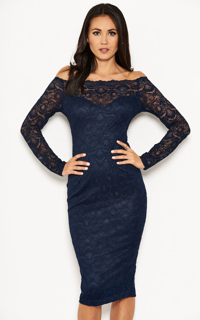 4c0e58855c31 Navy Long Sleeve Lace Off The Shoulder Midi Dress