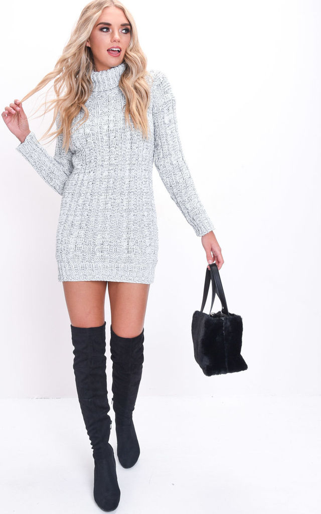 Grey Cable Knit Jumper Dress with Turtleneck by LILY LULU FASHION