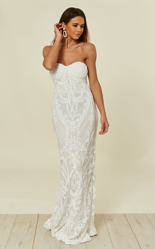 LOVE SPELL WHITE SWEETHEART BROCADE SEQUIN FISHTAIL MERMAID MAXI DRESS by Nazz Collection