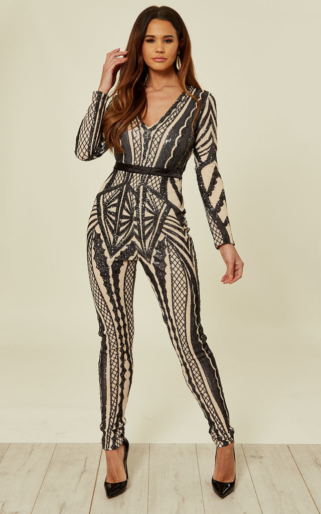 TEASE ME VIP BLACK NUDE PLUNGE ILLUSION SEQUIN EMBELLISHED JUMPSUIT by Nazz Collection